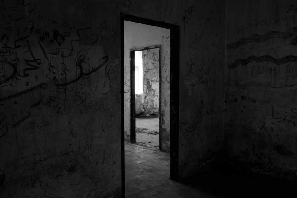 black wooden door frame